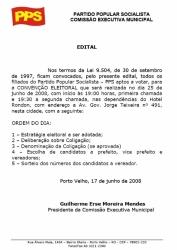 COMISSÃO EXECUTIVA MUNICIPAL DO PPS EM PORTO VELHO- EDITAL DE CONVENÇÃO ELEITORAL