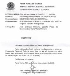 TRE DECIDE INCLUIR PROCESSO CONTRA ACIR GURGACZ EM PAUTA DE JULGAMENTO