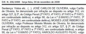 Sentença contra Carlão já está publicada no Diário da Justiça