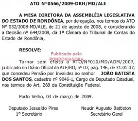 NOVO ATO DA ASSEMBLÉIA LEGISLATIVA ANULA APOSENTADORIA DO EX-DEPUTADO JOÃO DA MULETA