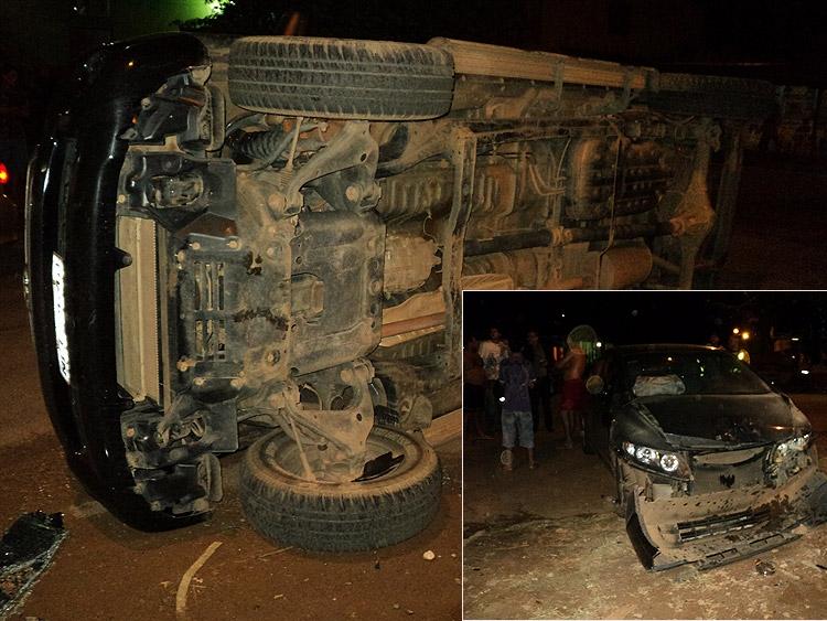 Camionete capota após invadir preferencial na Capital