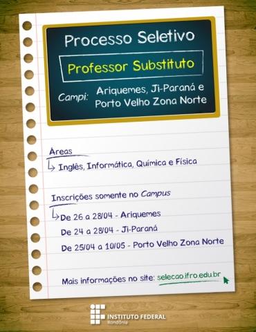 Ifro abre seleção para professor substituto em Ji-Paraná, Porto Velho e Ariquemes