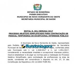 Inscrições para vagas de médicos na Prefeitura de Novo Horizonte encerram nesta segunda