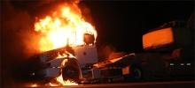 Caminhão pega fogo no meio da BR
