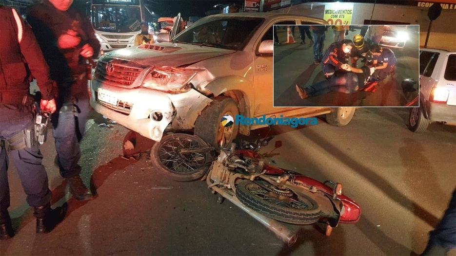 Grave acidente entre camionete e moto deixa vítima com fratura