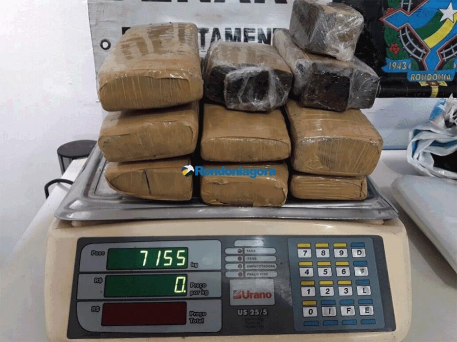 Traficantes do Mato Grosso são presos em Porto Velho com mais de 7 quilos de maconha