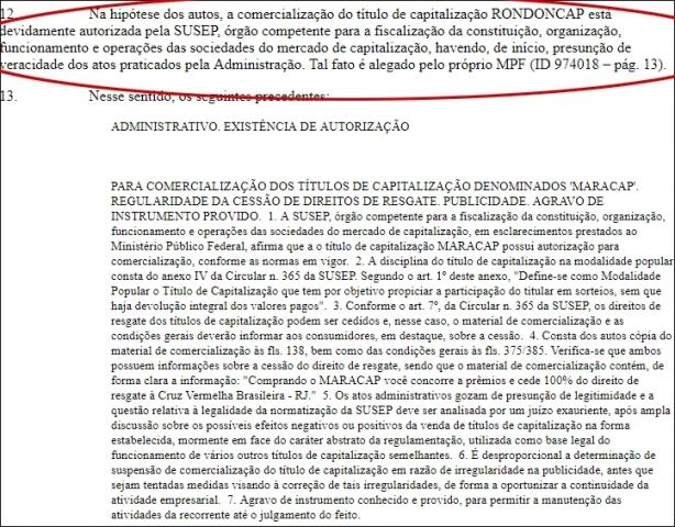 Tribunal Regional Federal determinada retomada de sorteios do Rondoncap
