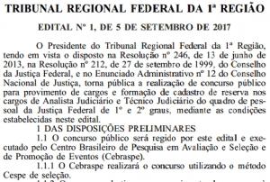 Confira o edital do concurso do TRF1 com vaga para Porto Velho e salário de até R$ 13.861