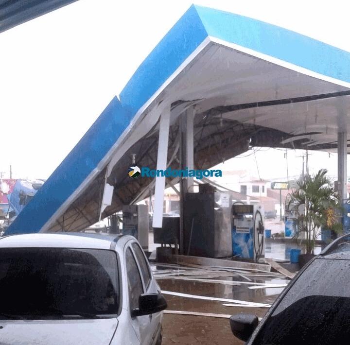 Forte temporal derruba estruturas de dois postos de combustível em Porto Velho; confira vídeo e fotos