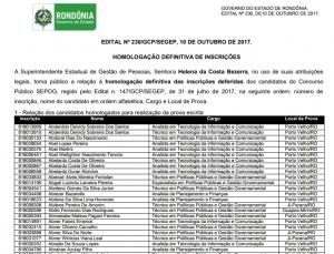 Confira lista de inscrições deferidas e pedidos de atendimento especial do concurso da Sepog em Rondônia
