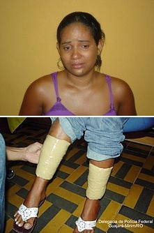 Mulher é presa pela PM e PF com cocaína amarrada nas pernas