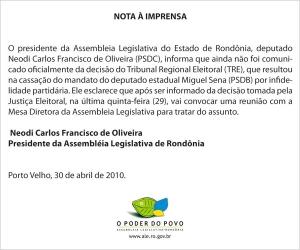 Assembléia envia Nota Oficial e diz que vai analisar caso Miguel Sena