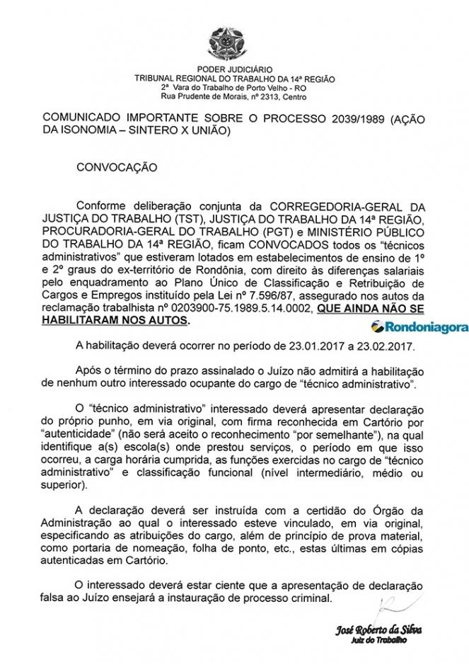 Vara do Trabalho convoca técnicos administrativos a se habilitarem no processo da Isonomia do Sintero