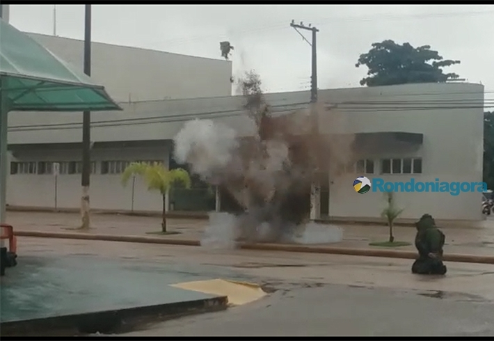 Vídeo: Bomba encontrada no Banco do Brasil é detonada na Capital
