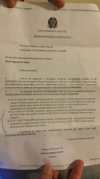 Estado perde R$ 700 milhões e capital fica sem obras de esgoto e água tratada