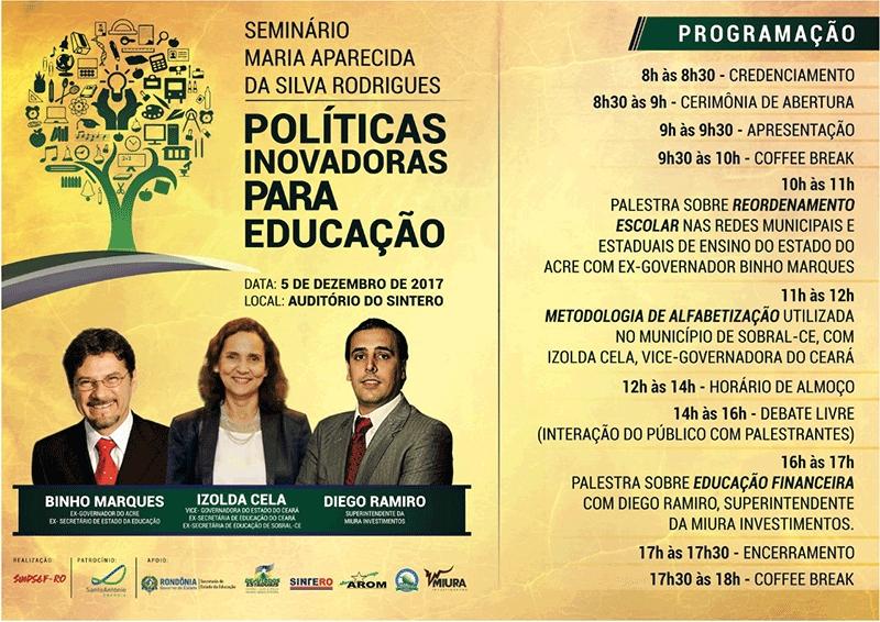 Sindsef abre inscrições para o Seminário Maria Aparecida - Políticas Inovadoras para Educação