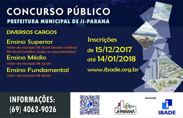 Prefeitura de Ji-Paraná abre concurso com 202 vagas e salários de até R$ 9.247,62