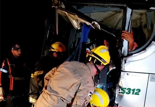 Motorista de ônibus fica preso às ferragens após colidir com caminhão leiteiro