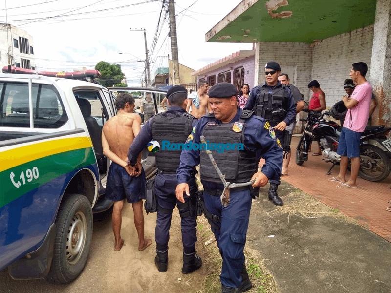 Criminoso é preso por populares após arrombar comércio e roubar televisão