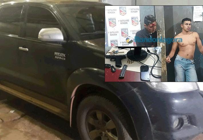 Após troca de tiros, PM prende bandidos que roubaram camionete de mulher que foi buscar sobrinha na maternidade