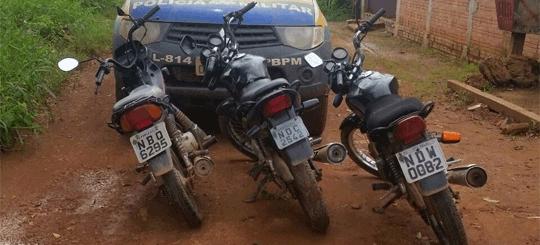 PM apreende motos roubadas que eram utilizadas em roubos na Capital