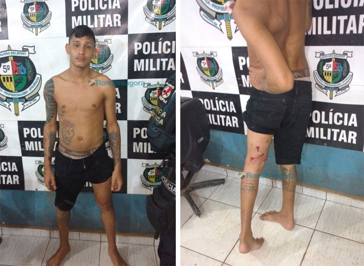 Jovem fica ferido durante perseguição policial; PM apreende arma, cocaína e moto roubada