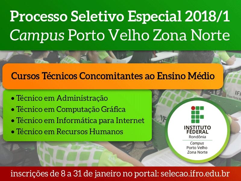IFRO em Porto Velho oferece mais 240 vagas para cursos