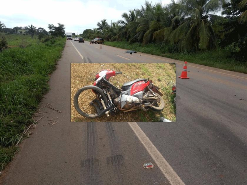 Motociclista morre na BR-364 atropelado por caminhão após invadir pista contraria