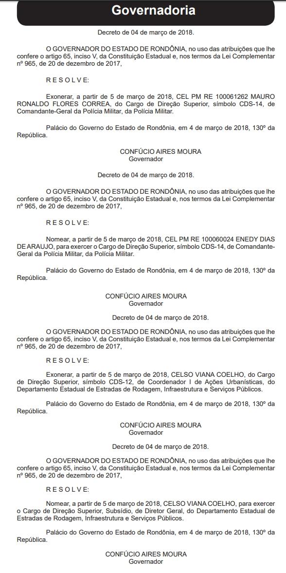 Confúcio desfaz nomeações feitas por Daniel no comando da PM e DER