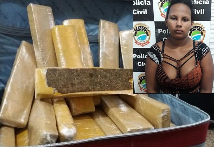 Portovelhense é presa com 21 quilos de maconha no Mato Grosso do Sul