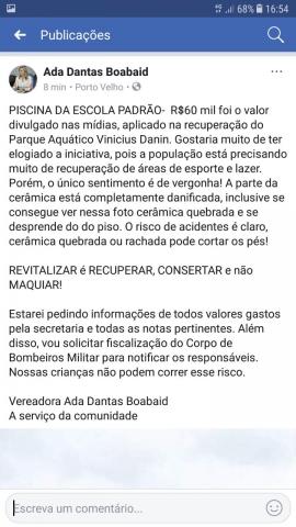 Com influência do marido deputado, vereadora Ada Dantas ameaça fechar piscina do colégio Padrão