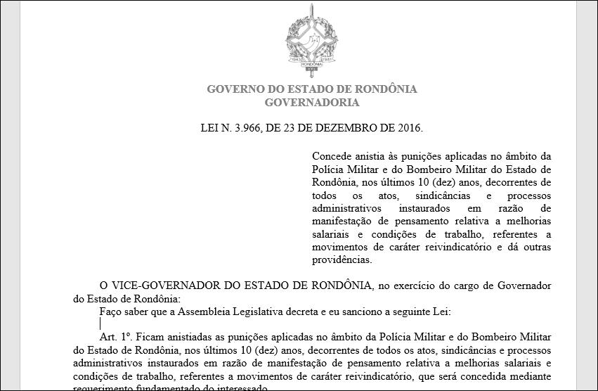 Tribunal de Justiça declara inconstitucional Lei e emenda que anistiaram PMs e bombeiros de Rondônia
