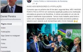 Fake News: Governador desmente boato de ponto facultativo na segunda-feira