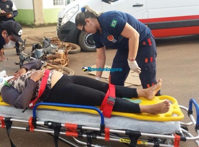 Acidente deixa mulher grávida ferida em Porto Velho