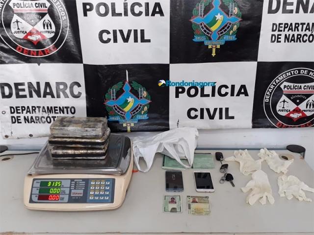 Denarc prende dupla com 3 quilos de cocaína em Porto Velho