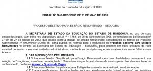 Seduc abre 150 vagas de estágio remunerado para atender unidades escolares e administrativas da rede estadual