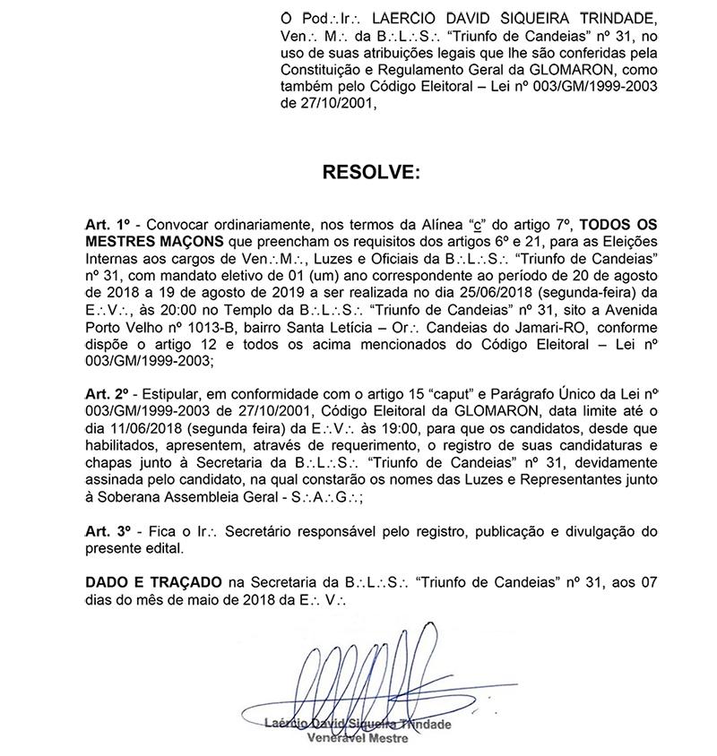 B. L. S. Triunfo de Candeias - Edital de Convocação Nº 001/2018-2019