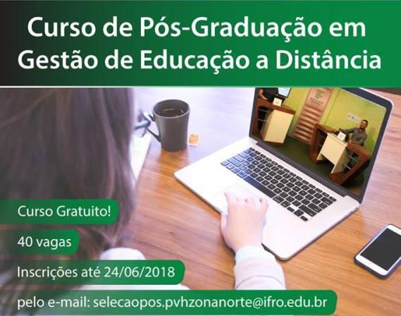 Ifro está com inscrições abertas para curso de pós-graduação em Gestão da Educação a Distância
