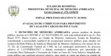 Prefeitura de Ministro Andreazza abre processo seletivo com oito vagas e salários de até R$ 6 mil