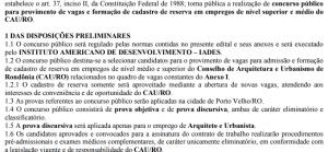 Conselho de Arquitetura e Urbanismo de Rondônia abre concurso com duas vagas e 75 de reserva com salário de até R$ 5.822,44