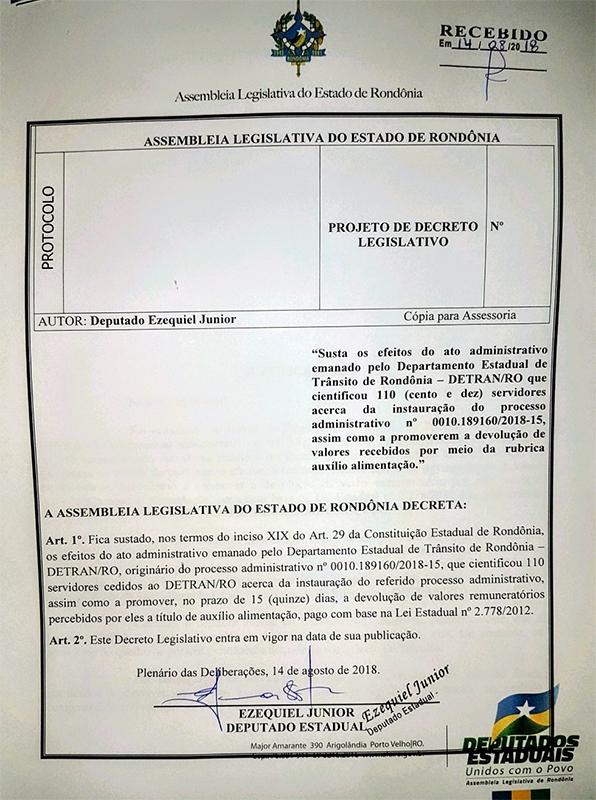 Ezequiel Júnior apresenta projeto de decreto Legislativo sustando efeitos de exigência do Detran