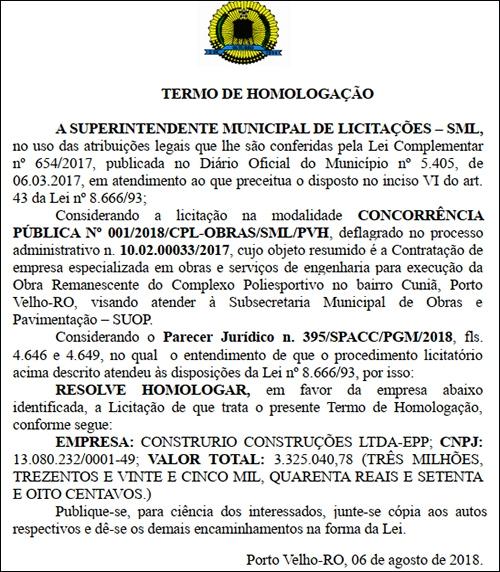 Prefeitura de Porto Velho aguarda empresa para assinar ordem de serviço e retomar obras do Complexo Padrão