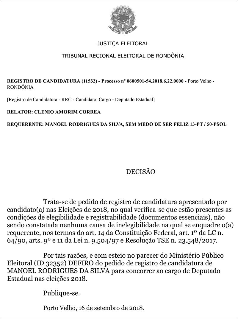 TRE defere candidatura de Manoelzinho do Sintero a deputado estadual