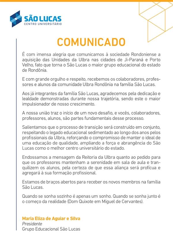 São Lucas anuncia que comprou a Ulbra em Porto Velho e Ji-Paraná