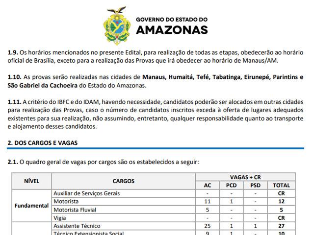 227 vagas: Segue até dia 7 período de inscrições para concurso no Amazonas com provas em Humaitá