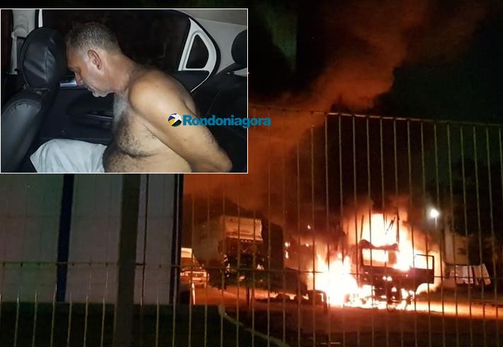 Vídeo: Funcionário é demitido e incendeia caminhão e empresa em Porto Velho