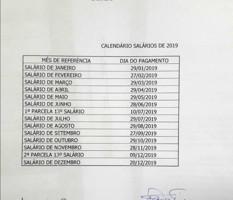 Governo divulga calendário de pagamento dos servidores estaduais em 2019