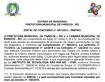 Prefeitura e Câmara de Parecis abrem concurso com 22 vagas e salários de até R$ 8.175