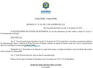 Governador decreta ponto facultativo e órgãos públicos não abrem na sexta-feira