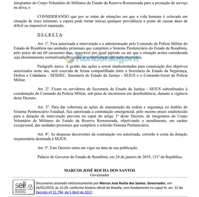Governo decreta intervenção em presídios e todos os servidores da Sejus passam a responder ao Comando da PM